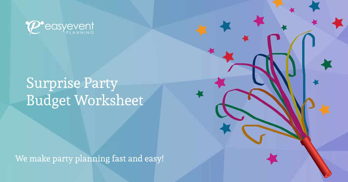 surprise party budget worksheet