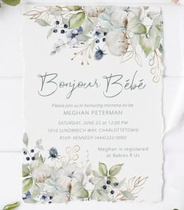 French Theme Baby Shower Invitiations