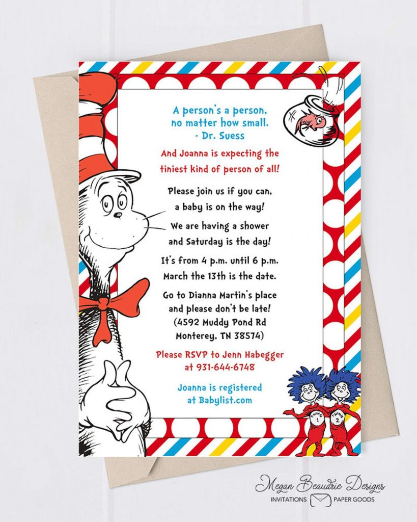 Fun with Dr. Seuss Baby Shower Invitation Ideas