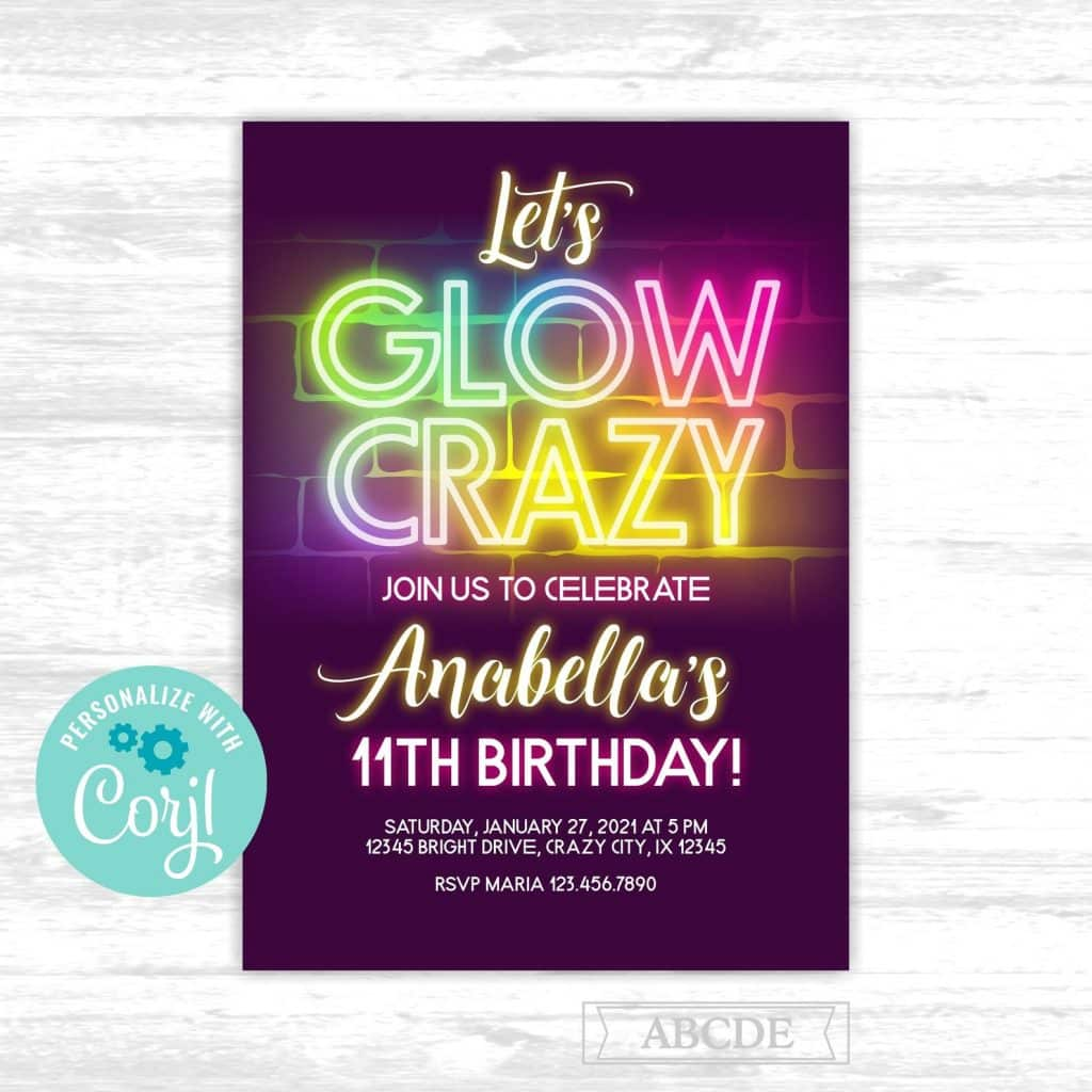 Glow in the Dark Theme Party Invitations