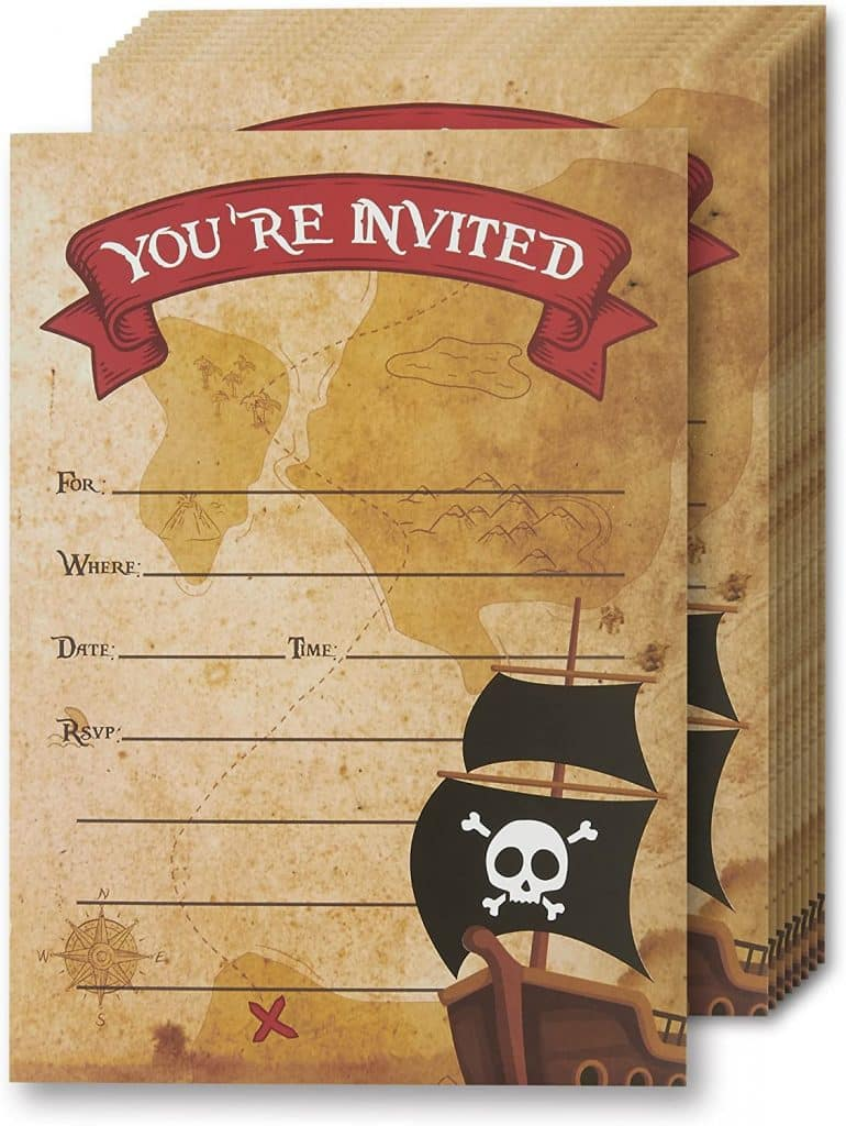 Pirate Themed Birthday Party Invitations