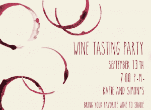wine tasting party invitations: wine stain invitation