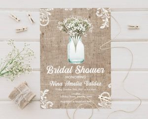 Rustic party invitation for bridal shower
